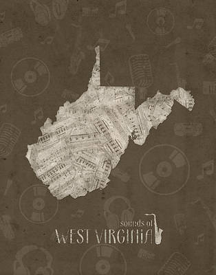Music Royalty-Free and Rights-Managed Images - West Virginia Map Muisc Notes 3 by Bekim Art