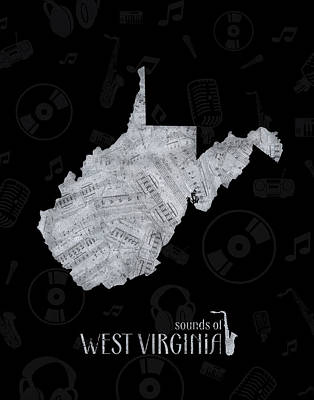 Music Royalty-Free and Rights-Managed Images - West Virginia Map Music Notes 2 by Bekim Art