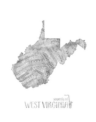Music Royalty-Free and Rights-Managed Images - West Virginia Map Music Notes by Bekim Art