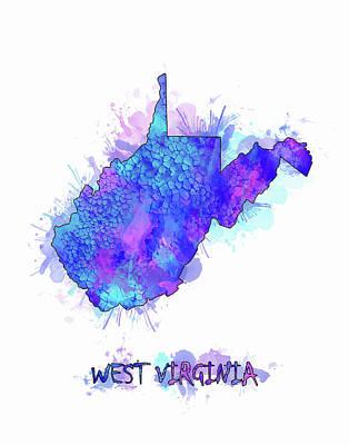 Watercolor Map Digital Art - West Virginia Map Watercolor 2 by Bekim Art