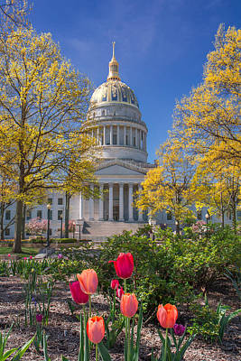 Photograph - West Virginia State Capitol Colors Of Spring by Mary Almond