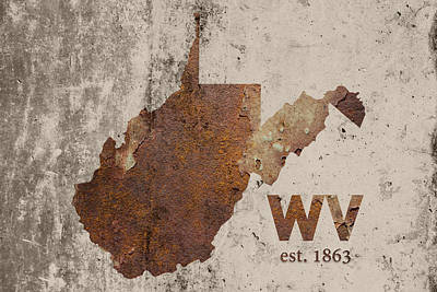 West Virginia State Map Industrial Rusted Metal On Cement Wall With Founding Date Series 014 Art Print by Design Turnpike