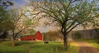 Barn Digital Art - West Virginia Sunrise by Lori Deiter