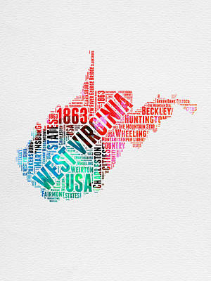 West Virginia Digital Art - West Virginia Watercolor Word Cloud Map  by Naxart Studio