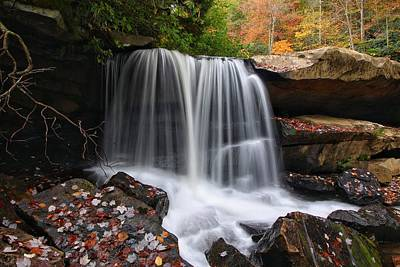 Photograph - West Virginia Waterfall Dressed In Autumn by Chris Berrier