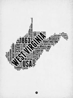 West Virginia Digital Art - West Virginia Word Cloud Map 2 by Naxart Studio