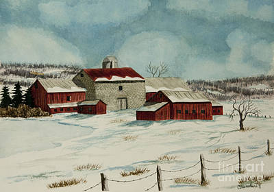 Barn Poster Painting - West Winfield Farm by Charlotte Blanchard