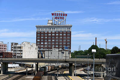 Photograph - Western Auto Building And Kansas City Train Yard by Catherine Sherman