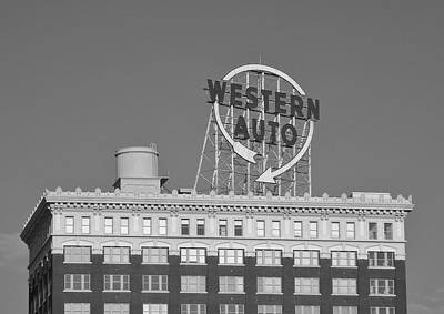 Western Auto Building Of Kansas City Missouri Bw Art Print