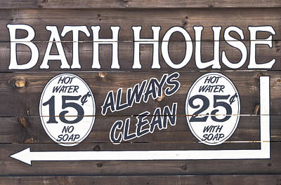 Photograph - Western Bathhouse Sign by Jim Vallee