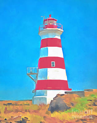 Royalty-Free and Rights-Managed Images - Western Brier Island Lighthouse Painting by Edward Fielding