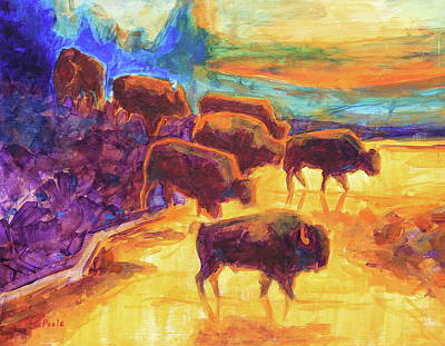 Painting - Western Buffalo Art Bison Creek Sunset Reflections Painting T Bertram Poole by Thomas Bertram POOLE