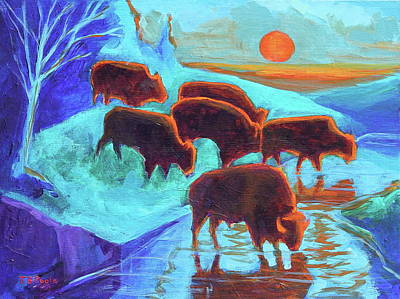 Painting - Western Buffalo Art Six Bison At Sunset Turquoise Painting Bertram Poole by Thomas Bertram POOLE