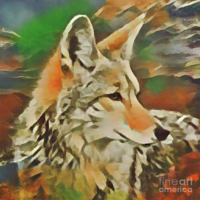 Digital Art - Western Coyote by Kathy Kelly