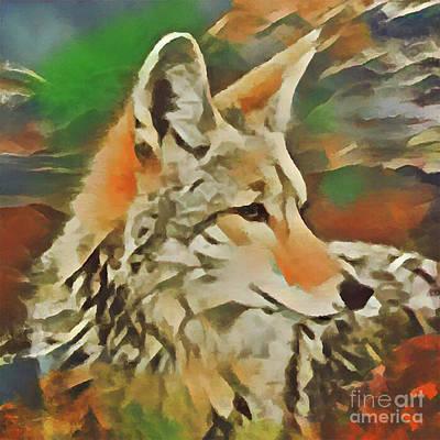 Digital Art - Western Coyote by Kathy Kelly