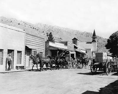 Horse And Wagon Photograph - Western Film Still by Underwood Archives