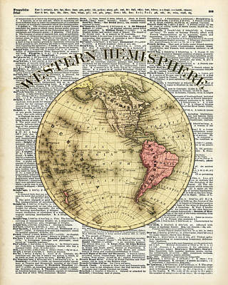 Cosmos Drawing - Western Hemisphere Earth Map  by Jacob Kuch