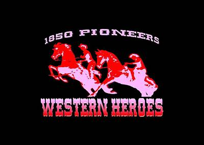 Tapestry - Textile - Western Heroes 1850 Pioneers - Tshirt Design by Art America Gallery Peter Potter