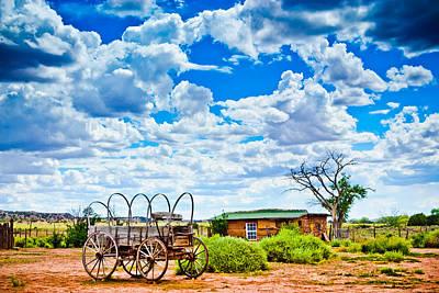 Conestoga Wagon Digital Art - Western Homestead by Daniel Dean