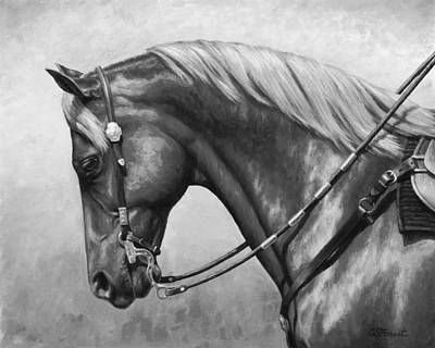 Western Riding Painting - Western Horse Black And White by Crista Forest