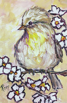 Yellow Painting - Western Kingbird Chick  by Roxy Rich