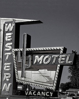 Print featuring the photograph Western Motel In Black And White by Matthew Bamberg
