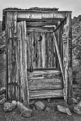 Photograph - Western Outhouse Bw by Susan Candelario