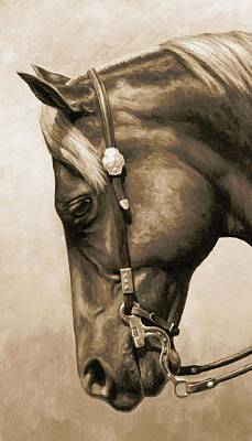 Chestnut Horse Painting - Western Pleasure Horse Phone Case In Sepia by Crista Forest