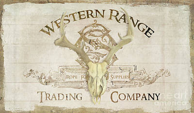 Print featuring the painting Western Range 3 Old West Deer Skull Wooden Sign Trading Company by Audrey Jeanne Roberts