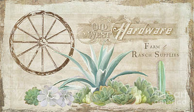 Old Wooden Wagon Painting - Western Range 4 Old West Desert Cactus Farm Ranch  Wooden Sign Hardware by Audrey Jeanne Roberts