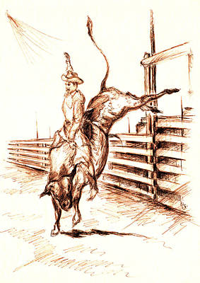 Drawing - Western Rodeo Bull Ride - Pencil by Art America Gallery Peter Potter
