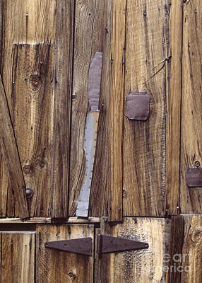 Photograph - western rural abstract photography - One-Eyed Barn Door by Sharon Hudson