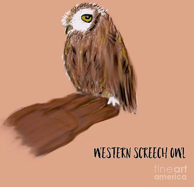 Photograph - Western Screech Owl Illustration  by Susan Garren