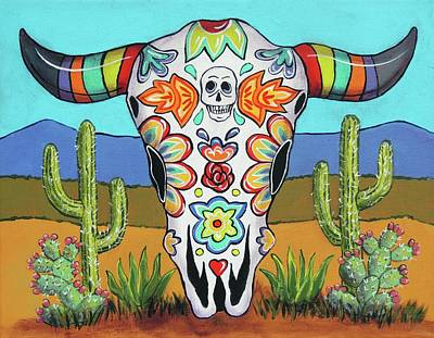Cow Skull Painting - Western Skull by Candy Mayer