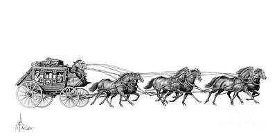 Us Mail Drawing - Western Stagecoach by Murphy Elliott