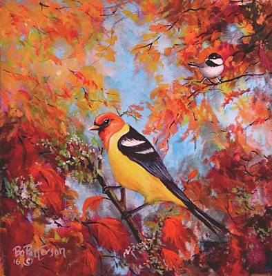 Autumn Landscape Mixed Media - Western Tanager, Chickadee by Bob Patterson