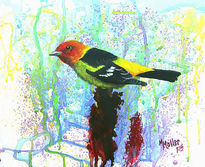 Western Tanager On Sumac Original by Marcus Moller