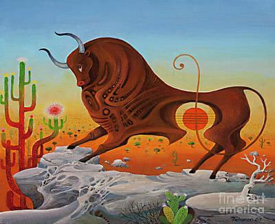 Sonora Painting - Western Taurus, Horoscope Sign by Vasko Taskovski