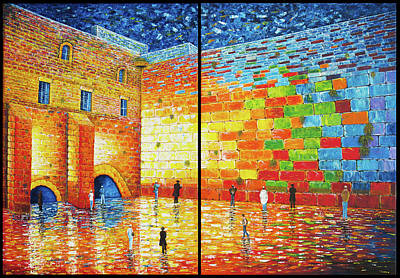 Painting - Western Wall Jerusalem Wailing Wall Acrylic Painting 2 Panels by Georgeta Blanaru