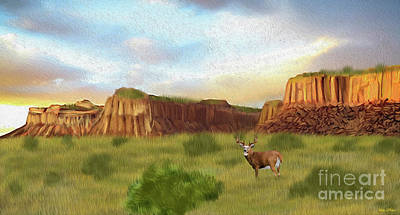 Digital Art - Western Whitetail Deer by Walter Colvin
