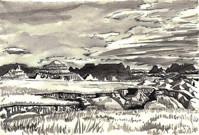 Drawing - Western Wyoming Field Sketch by Dawn Senior-Trask