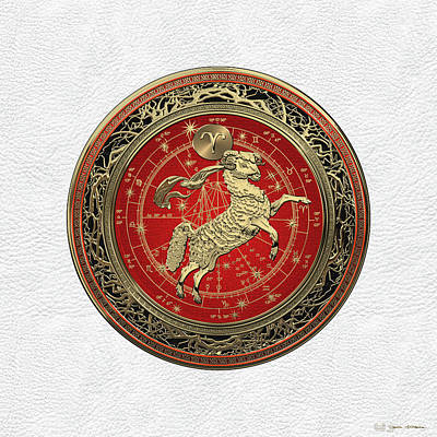 Western Zodiac - Golden Aries -the Ram On White Leather Original