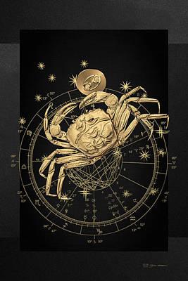 Western Zodiac - Golden Cancer - The Crab On Black Canvas Original