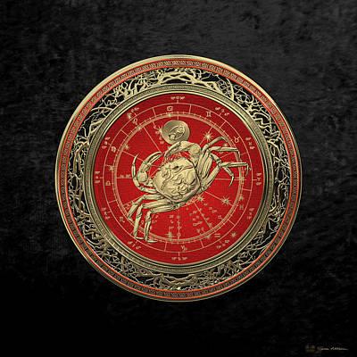 Western Zodiac - Golden Cancer - The Crab On Black Velvet Original