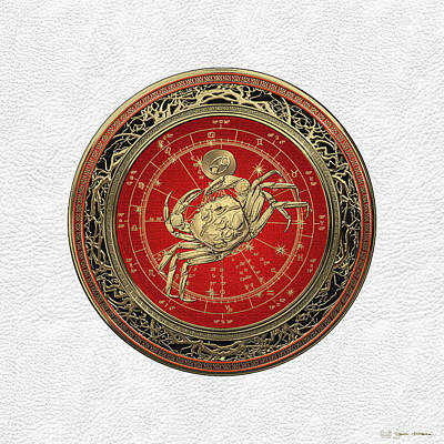 Western Zodiac - Golden Cancer - The Crab On White Leather Original