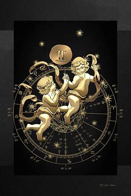 Western Zodiac - Golden Gemini - The Twins On Black Canvas Original