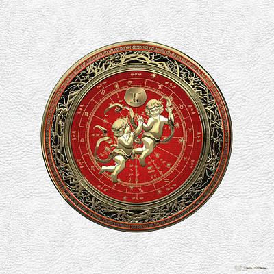Western Zodiac - Golden Gemini - The Twins On White Leather Original