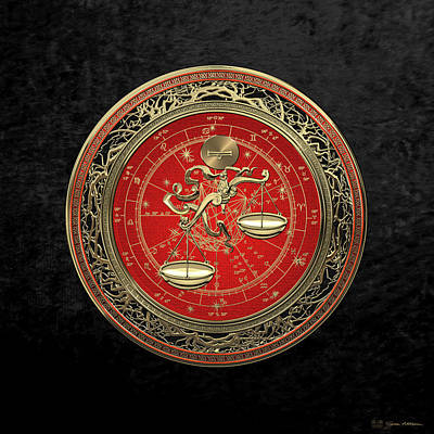 Digital Art - Western Zodiac - Golden Libra -the Scales On Black Velvet by Serge Averbukh