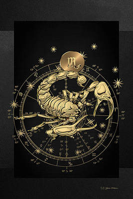 Digital Art - Western Zodiac - Golden Scorpio - The Scorpion On Black Canvas by Serge Averbukh