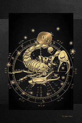 Digital Art - Western Zodiac - Golden Scorpio - The Scorpion On Black Canvas by Serge Averbukh
